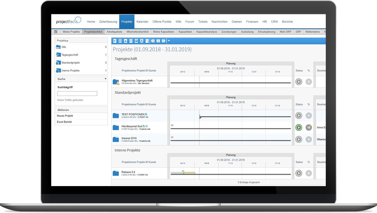 Multiprojektmanagement mit projectfacts