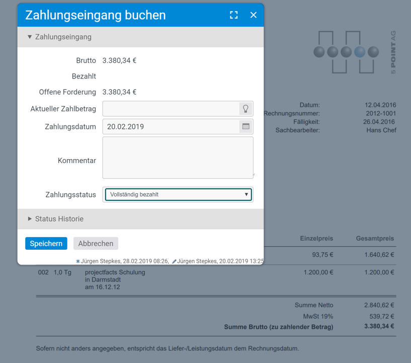 Zahlungseingang buchen in projectfacts