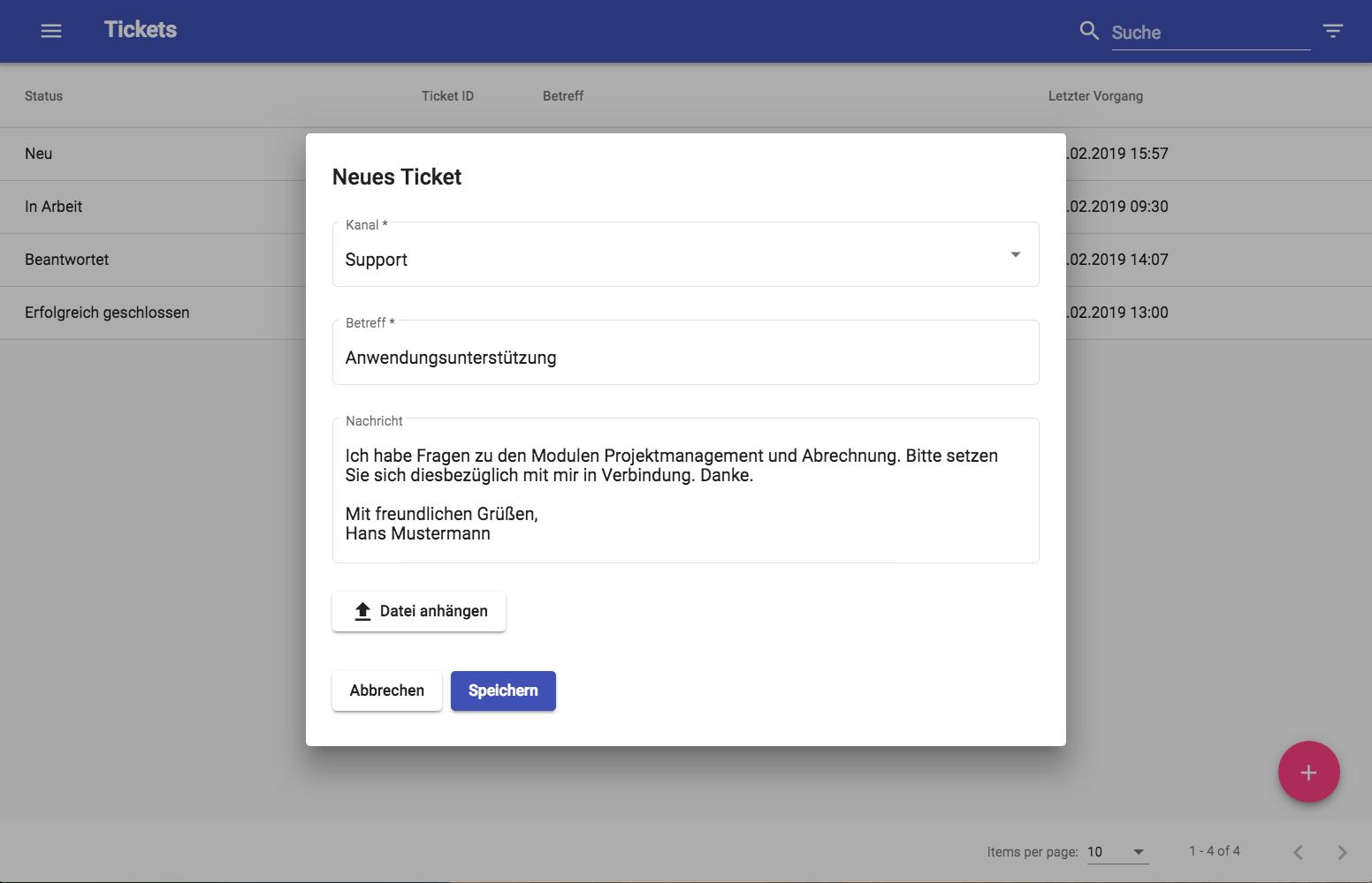 Externer Zugang Neues Ticket schreiben
