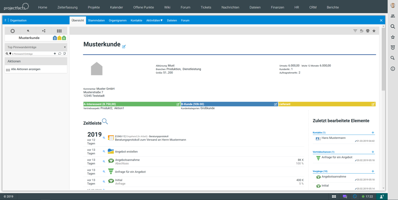 CRM_Kundenakte in projectfacts
