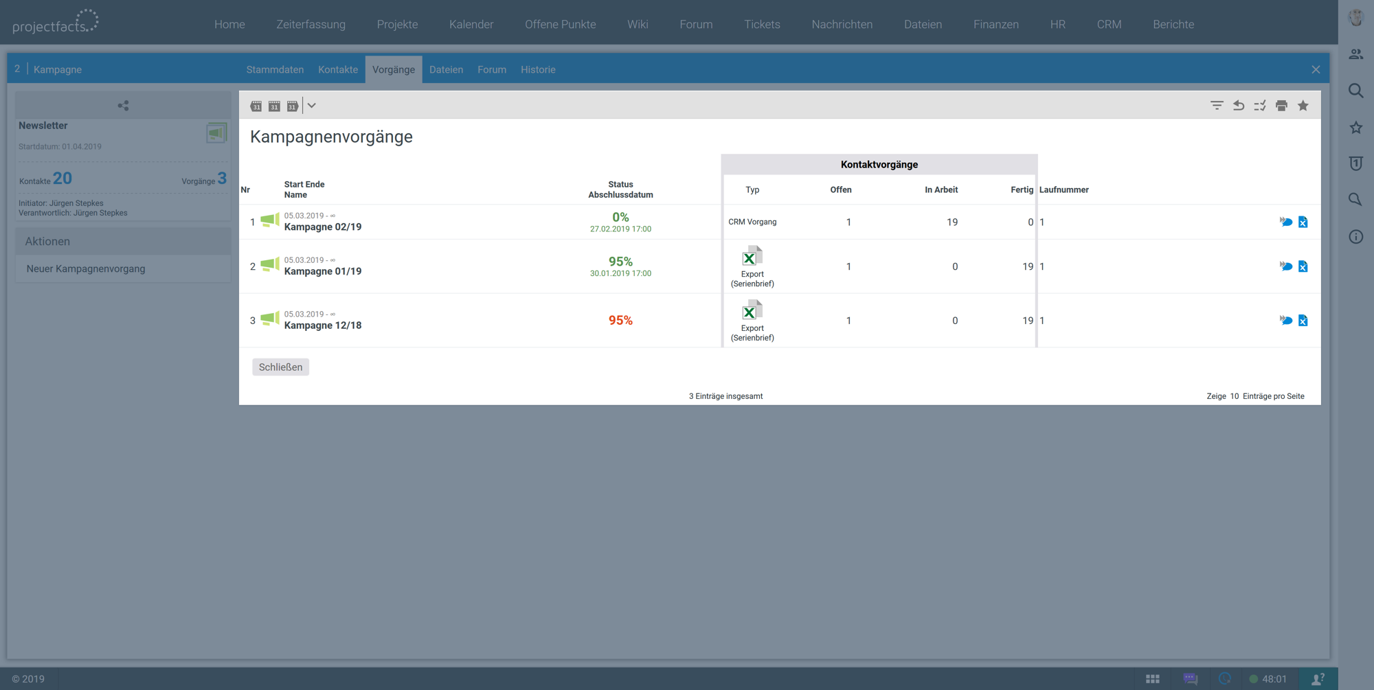 Kampagnenmanagement im CRM Tool von projectfacts