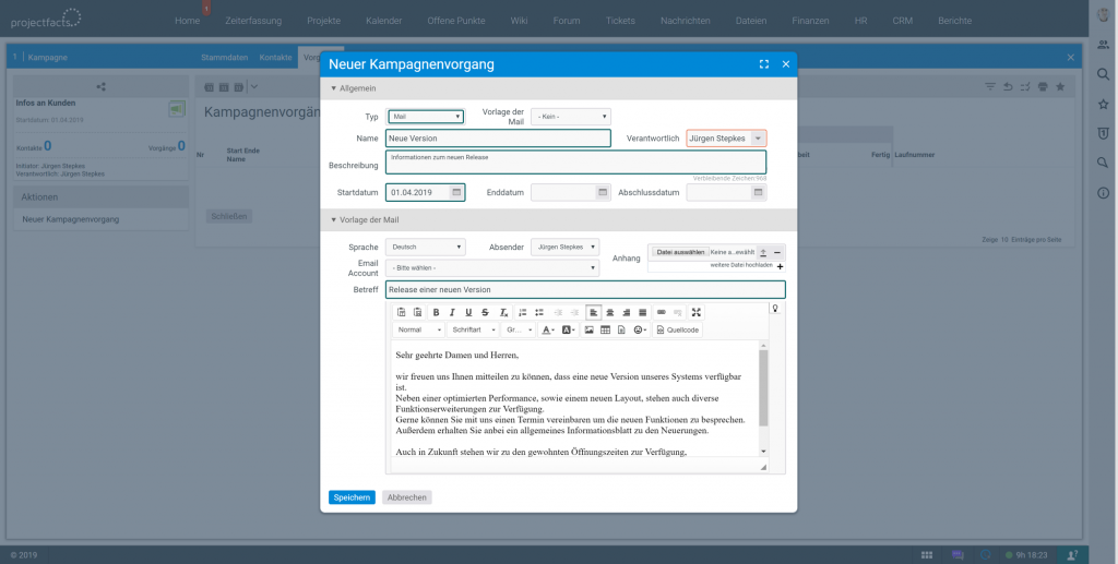 Kampagnenmanagement im CRM Tool in projectfacts