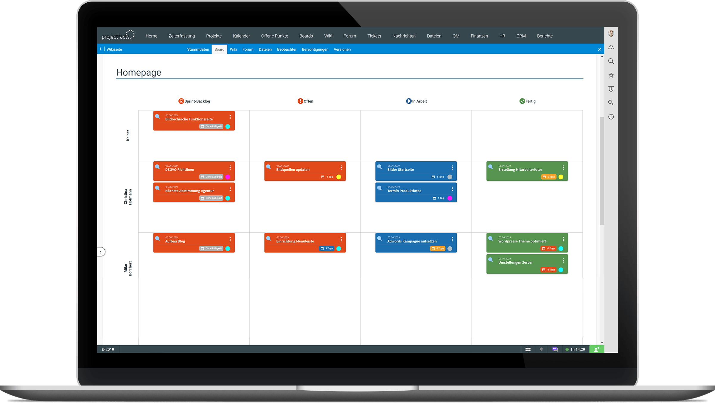 Scrum-Board in projectfacts
