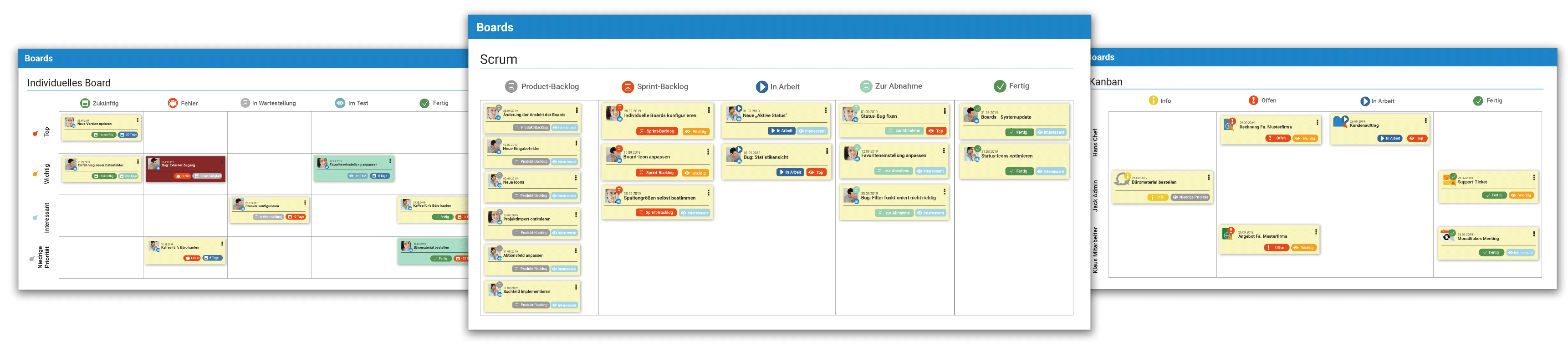 Boards in projectfacts