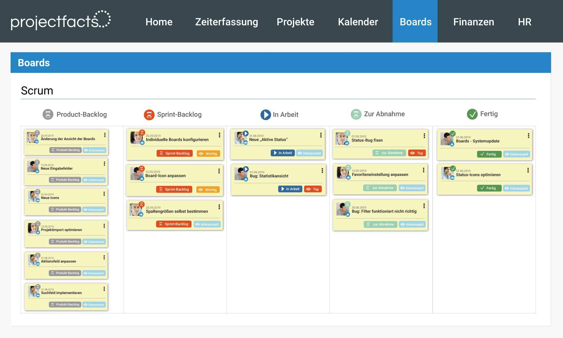 Scrum Board in projectfacts