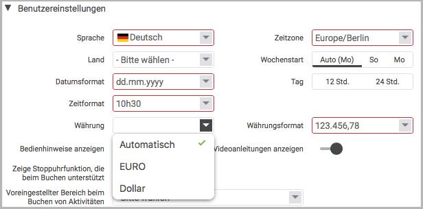 Währungen einrichten