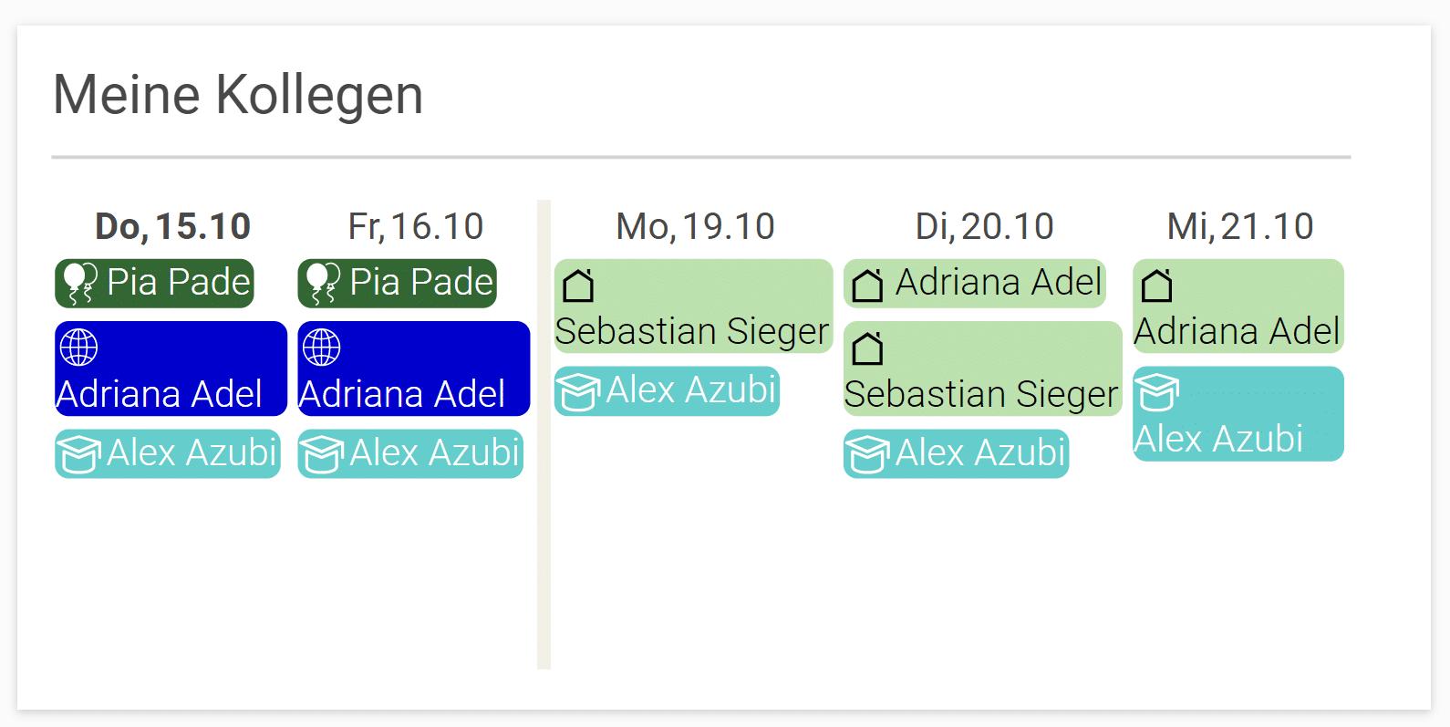 Abwesenheit - Meine Kollegen - projectfacts