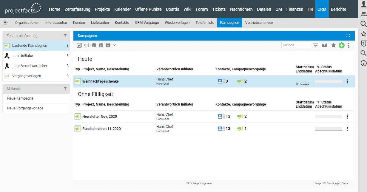 Kampagnenmanagement im CRM-System in projectfacts