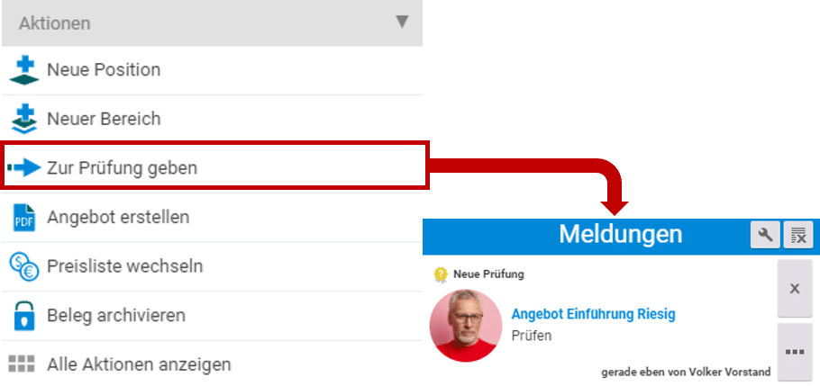 Angebote prüfen in projectfacts