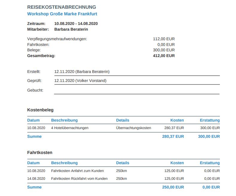 Reisekosten Abrechnung in projectfacts