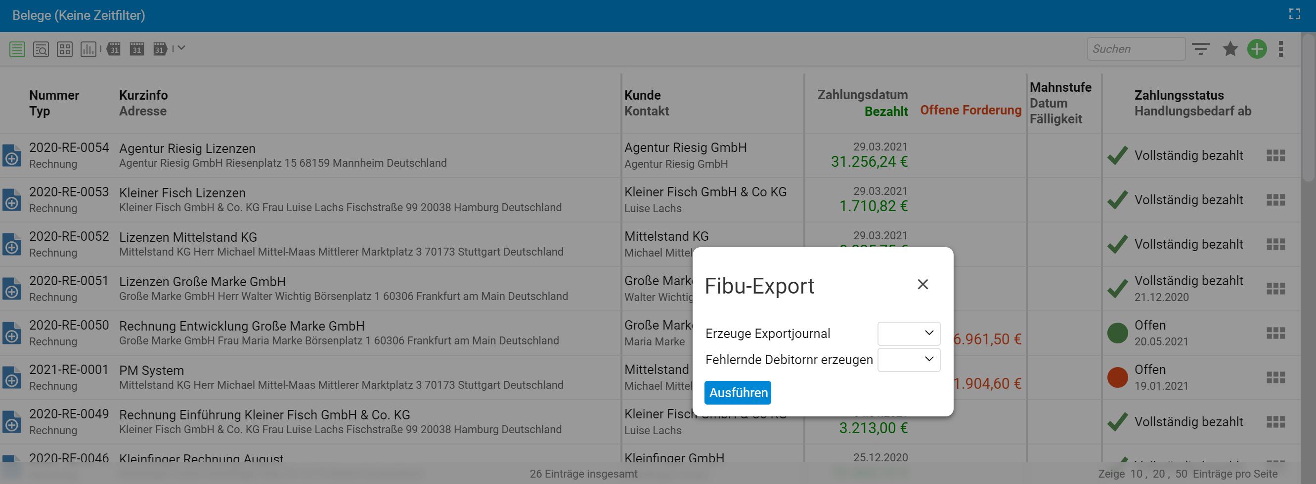 Fibu-Export in projectfacts