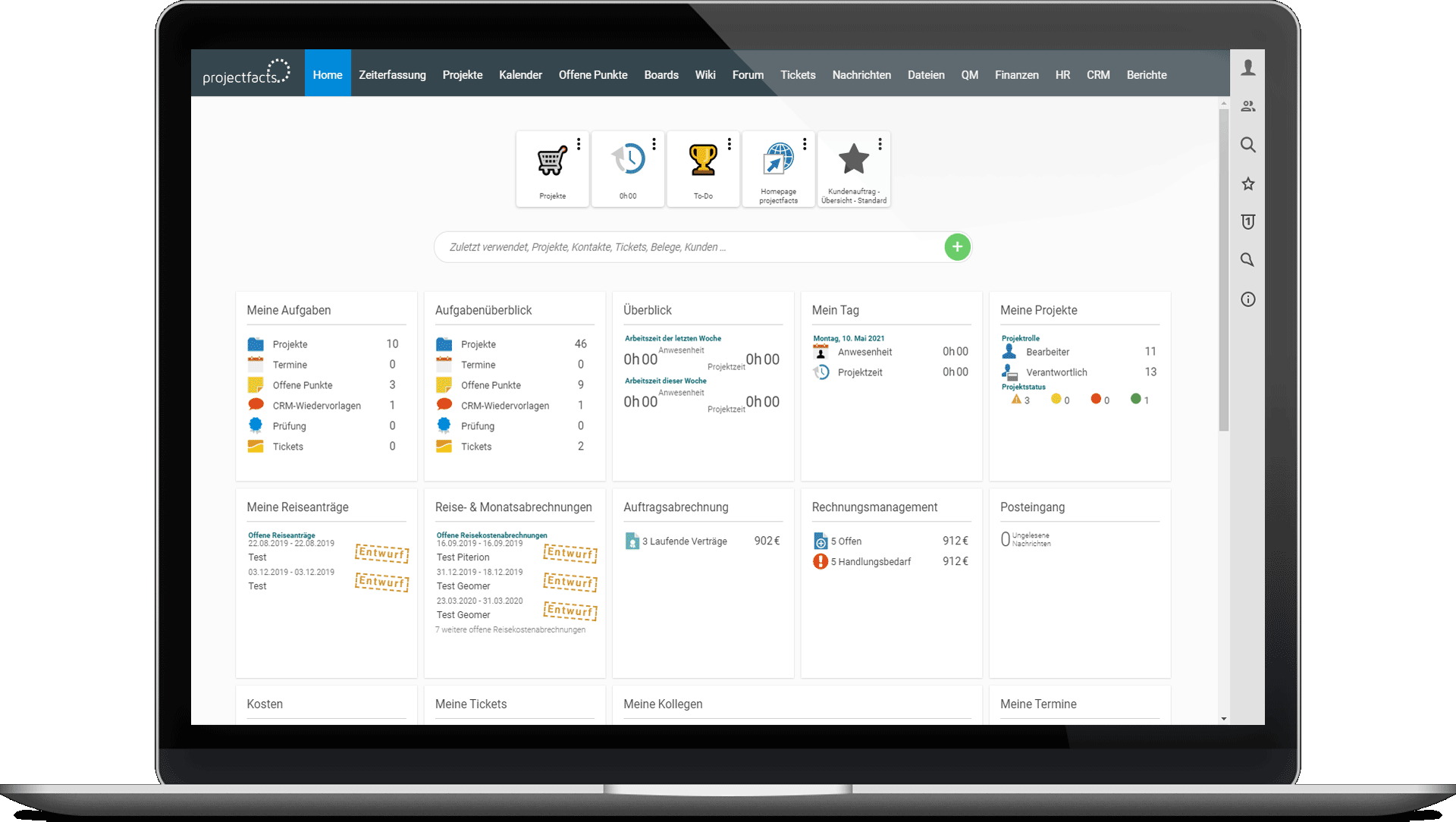 Dashboard in projectfacts