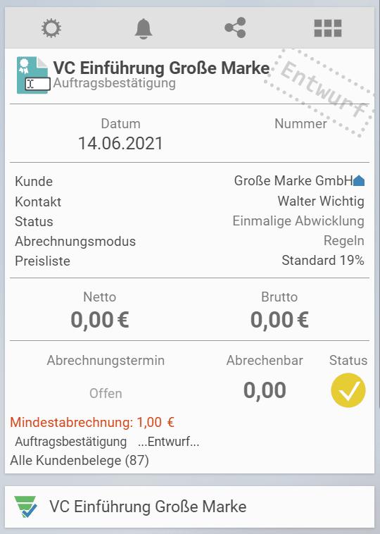 Auftrag in projectfacts